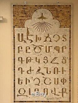 Unique Armenian Alphabet Mosaic Glass Tile Painting Handmade Art Wall Decor