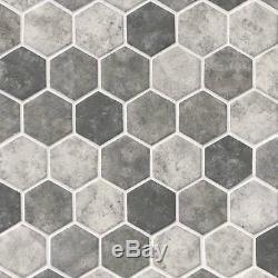 Urban Tapestry Hexagon 6mm Glass Mosaics White Gray Tile Floor Backsplash Wall