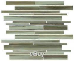 Utaupia Hand Painted Linear Glass Mosaic Tiles Backsplash/Bathroom Tile