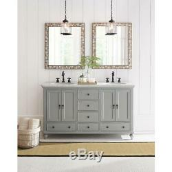 Vanity Wall Mirror 28 in. W x 33 in. L Espresso Marble Tile Frame