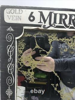 Vintage 60s 70s Gold Foil Vein Mirror Glass wall tiles 12 x 12 Still in box