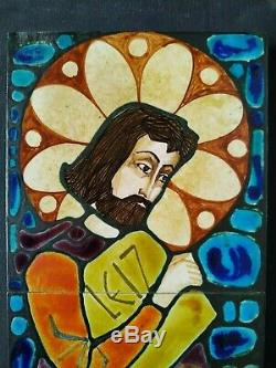Vintage Art Ceramic Wall Plaque Tiles St Yves Stained Glass Manner Signed Artist