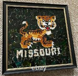 Vintage Framed Missouri Tiger Glass Tile Mosaic Wall Hanging Mid Century Modern