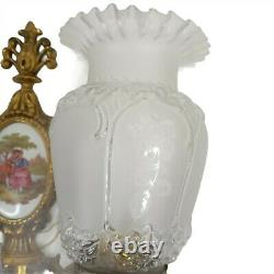 Vintage Victorian Garden Wall Sconce Light Double Antique Brass Ceramic Tile