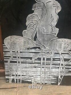 Vintage Vitrolite Wall Art Panel. Art Deco Flamingos Vitrolite Wall Panel