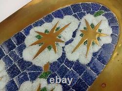 Vtg MCM Salvador Teran Art Glass Mosaic Tile & Brass 23.5 Wall Tray 409 Mexico