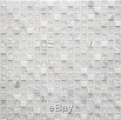 WHITE Clear/Frosted MIX Translucent Mosaic tile GLASS/STONE WALL 92-010210sheet