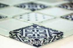 WHITE DESIGN Translucent Mosaic tile GLASS Splashback 78B-0103 10 sheet