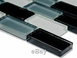 WHITE/GRAY/BLACK BRICK 3D Mosaic clear tile GLASS WALL Bath -76-0204 10 sheet