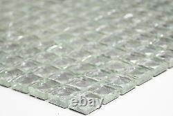 WHITE/SILVER Glitter Translucent Mosaic tile GLASS Backsplash 130-020410sheet