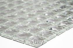 WHITE/SILVER Glitter Translucent Mosaic tile GLASS Backsplash 130-020810sheet