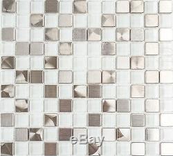 WHITE/SILVER Mosaic tile SQUARE GLASS/STEEL WALL Backsplash 49-0104 8mm10 sheet