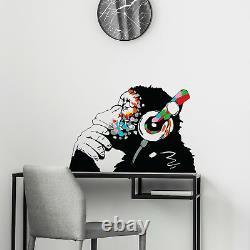 Wall Monkey Decal Decor Sticker Vinyl Thinking Ape Gorilla DJ Mural Banksy Art