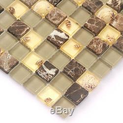 Wall Mosaic Shell Mosaic Tile Stone Brown Glass Backsplash Kitchen Subway(11PCS)