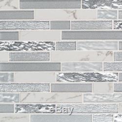Whistler Ice Interlocking 8mm White Porcelain & Glass Backsplash Wall Tile