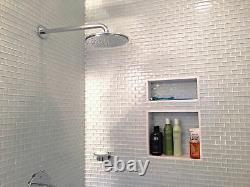 White 1x2 Mini Glass Subway Tile for Backsplashes, Showers & More BOX OF 11 SQ