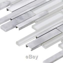 White Calacatta Marble Stone Aluminum Metallic Glass Mosaic Tile Wall Backsplash