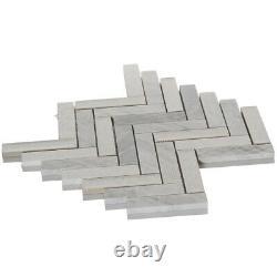 White Carara Stone Mosaic Tile Crackle Glass Herringbone Kitchen Wall Backsplash