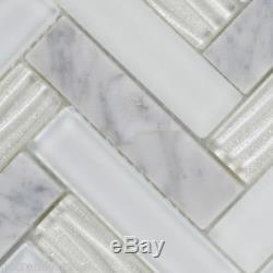 White Carrara Marble Stone Mosaic Tile Glass Herringbone Kitchen Wall Backsplash
