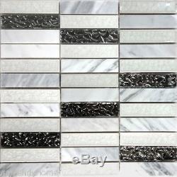 White Carrara Stone Mosaic Tile Metallic Silver Glass Kitchen Wall Backsplash