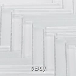 White Crystal Glass Herringbone Mosaic Tile Kitchen Bathroom Wall Backsplash