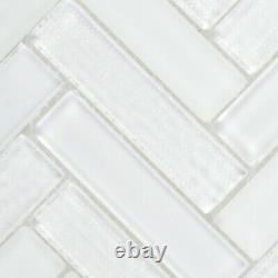 White Crystal Glass Mosaic Tile Texture Matte Heringbone Kitchen Wall Backsplash