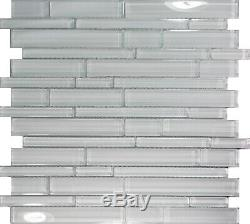 White Glass Linear Mosaic Tile Kitchen Wall Floor Sink Pool Backsplash Spa