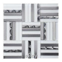 White Glass Stainless Steel Metallic Glass Parquet Mosaic Tile Wall Backsplash
