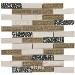 White Gray Marble Stone Crackle Glass Mosaic Tile Brick Joint Wall Backsplash