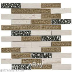 White Gray Marble Stone Crackle Glass Mosaic Tile Brick Joint Wall Backsplash