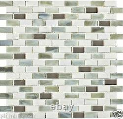 White Marble Green Stained Glass Aluminum Kitchen Bath Mosaic Tiles- 20