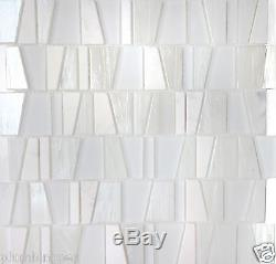 White Textured Glass & Marble Kitchen Bath Wall Mosaic Backsplash Tiles- 14