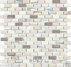 White Wooden Marble Stained Glass Stainless Steel Kitchen Bath Mosaic Tiles- 20