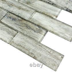 Wood Grain 2x6 Glass Subway Taupe Kitchen Bathroom Wall Mosaic Tile Backsplash