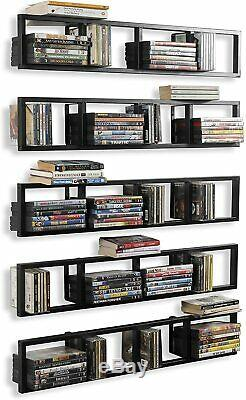 You-Have-Space Wall Mount 34 Inch Media Storage Rack Cd Dvd Organizer Metal Floa